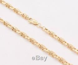 5mm Puffed Anchor Mariner Link Chain Necklace Real 14K Yellow Gold
