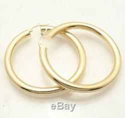 5mm X 50mm 2 Large Plain Shiny Hoop Earrings REAL 14K Yellow Gold FREE SHIPPING