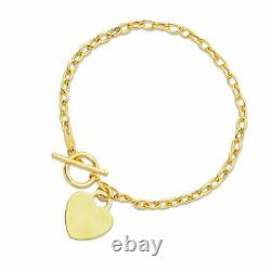7.5 Engravable Heart Tag Oval Charm Bracelet Real 14K Yellow Gold Toggle Clasp