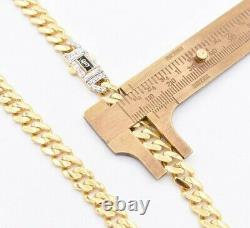 7.5mm Miami Cuban Link Monaco Chain Necklace Baguette Lock Real 10K Yellow Gold