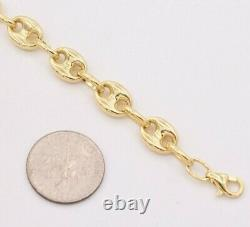 7.5mm Puffed Mariner Anchor Link Chain Bracelet Real 10K Yellow Gold