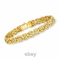 8 Polished Byzantine Link Bracelet with Fancy Lobster Clasp REAL 14K Yellow Gold