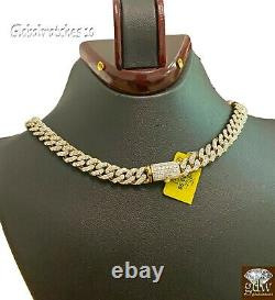 9CT Real Natural Diamond chain Tennis Necklace Miami Cuban 10k Yellow Gold SOLID