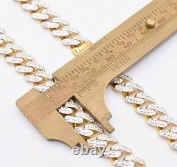 9mm Miami Cuban Royal Link Chain Diamond Cut Necklace Real 10K Yellow White Gold