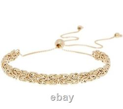 Adjustable Flat Byzantine Bracelet REAL 14K Yellow Gold For ALL WRISTS! QVC