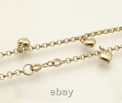 Adjustable Puffed Heart Rolo Chain Ankle Bracelet Anklet Real 10K Yellow Gold