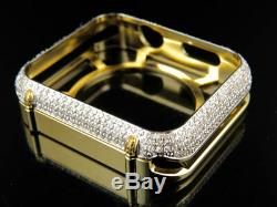 Apple I Watch Genuine Diamond Yellow Gold Watch 42MM Bezel Capsule Case 2.50ct