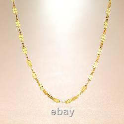 Au750 Real 18K Yellow Gold Women's Charming Clover Link Chain Necklace 17.7L