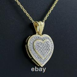 Beautiful Heart Pendant 10K Solid Yellow Gold Real Round Diamond with Chain
