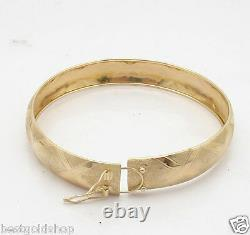 Bold 1/2 Wide X Textured Satin Bangle Bracelet Real 10K Yellow Gold 12mm