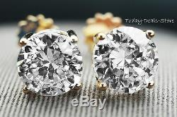 Brilliant 4.00 CTW round cut screwback stud earrings solid real 14K YELLOW GOLD