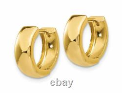 Cute Small All Polished Plain Huggie Hoop Earrings Real 14K Yellow Gold