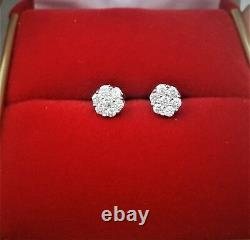 DEAL! 10K Gold Genuine Diamond Round Cluster Studs Earrings. 25ct 5MM