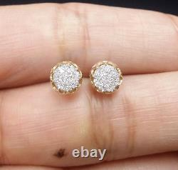 DEAL! 10K Yellow Gold Real Diamond Studs 6.40mm Men's 3D Pave Earrings 0.15 CT