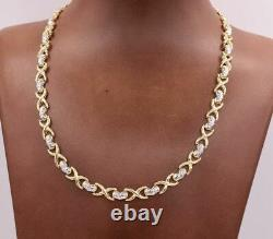 Diamond Cut Hearts & Kisses Two-Tone Chain Necklace Real 10K Yellow White Gold