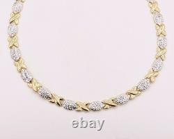 Diamond Cut Hugs and Kisses Stampato Necklace Real 10K Yellow White Gold XOX 17