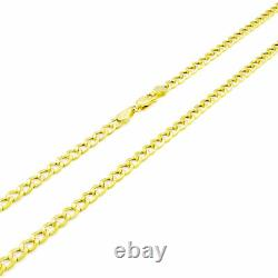 GENUINE 14K Pure Yellow Gold 3.5MM Womens 7in Cuban Curb Link Chain Bracelet- 7