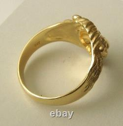 GENUINE 9K 9ct SOLID GOLD MEN'S LION HEAD RING Size T/10 to With11.5
