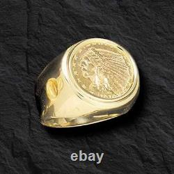 GENUINE INDIAN HEAD 2 1/2 DOLLAR GOLD COIN 14 kt Gold MEN'S RING MOUNTING