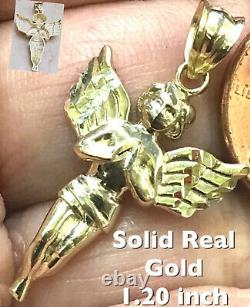 GOLD Angel Pendant 10k Yellow charm Necklace solid Real Gift diamond cut 1.20