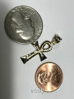 GOLD Ankh Pendant 10k solid real Charm Egyptian Cross necklace Diamond Cut 1.40