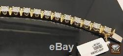Genuine 10k Real Yellow Gold Mens Real Diamond Tennis 9 Bracelet, Crown, Unique
