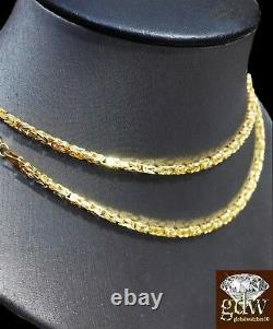 Genuine 14k Solid Yellow Gold Byzantine Necklace Chain 22 Inch Mens & Women REAL