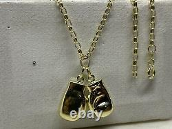 Genuine 9ct Yellow Gold Double Twin Boxing Glove Pendant&Necklace Chain 18 NEW