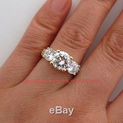 Genuine Solid 9ct Yellow Gold Engagement Wedding Trilogy Ring Simulated Diamonds