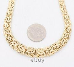 Graduated Byzantine Chain Necklace Real 14K Yellow Gold 18