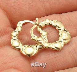 Graduated Diamond Cut Hearts and Kisses Hoop Earrings REAL 10K Yellow Gold