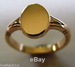 Kaedesigns Genuine Full Solid New 9ct 9k Yellow Gold Oval Signet Ring
