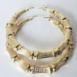 Large real 10k gold hoop bamboo earrings 2 inches