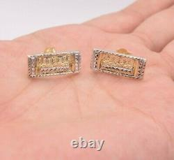 Last Supper Diamond Cut Stud Earrings Real Solid 10K Yellow White Gold