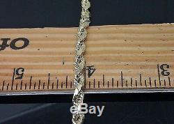Men Real 10k Yellow Gold Rope Chain Diamond Cuts 4mm 18in
