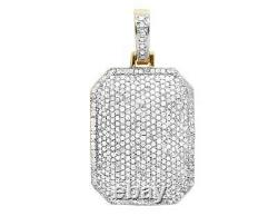 Men's 10K Yellow Gold Iced Dome Pillow Real Diamond Charm Pendant 1 1/10 CT 1.1