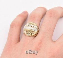 Men's Diamond Cut Last Supper Ring Real Solid 10K Yellow White Gold Size 11