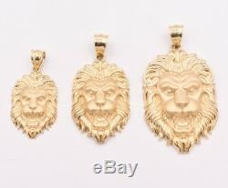 Men's Diamond Cut Lion Head Charm Pendant Real Solid 10K Yellow Gold ALL SIZES