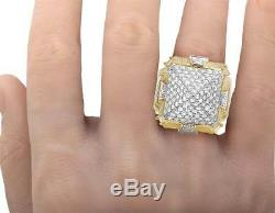 Men's Real 10K Yellow Gold Simulated Diamond Iced Pyramid Fashion Ring 22MM