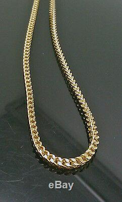 Men's Real 10kt Yellow Gold franco chain necklace 3mm, 30 Inch, Rope, cuban, N