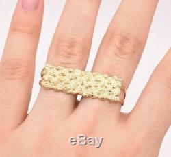 Men's Rectangular Nugget Diamond Cut Two Finger Ring Real 10K Yellow Gold S-11