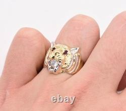 Men's Tiger Head Ring Ruby Eyes & CZ Real Solid 10K Yellow White Gold Size 12