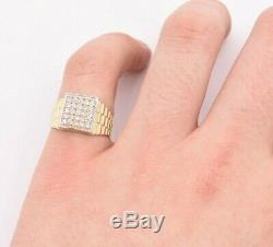 Men's Unisex Railroad Square CZ Pinky Ring Real Solid 10K Yellow Gold Size 8.5