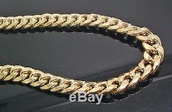 Mens 10k Gold Miami Cuban Link Chain REAL GENUINE Necklace 24 Inch 9mm Box Lock