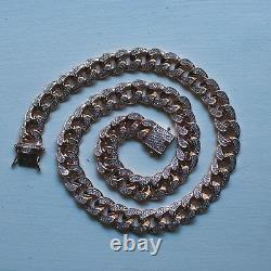 Mens Miami Cuban Link Chain Diamond Real 14k Rose Gold Solid Lifetime Warranty