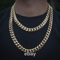 Mens Miami Cuban Link Chain Real 14k Yellow Gold Solid Lifetime Warranty
