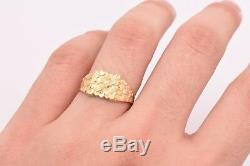 Mens Nugget Square Ring Real Solid 10K Yellow Gold ALL SIZES