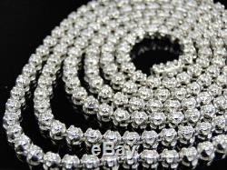 Mens Prong Set 1 Row Genuine Diamond Chain Necklace in 14k White Gold