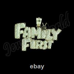 Mens Real 10K Solid Yellow Gold FAMILY FIRST Diamond Cut Custom Charm Pendant