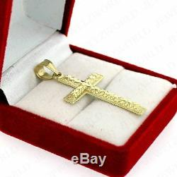 Mens Real 10K Yellow Gold Cross Pendant Diamond Cut Gold Crucifix Charm Nugget